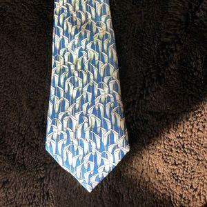 Hermès vintage tie, blue w/ Calla Lillies. France.